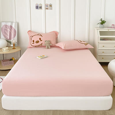 2021新款纯色全棉水洗棉单床笠 150cmx200cm 水洗棉 粉色
