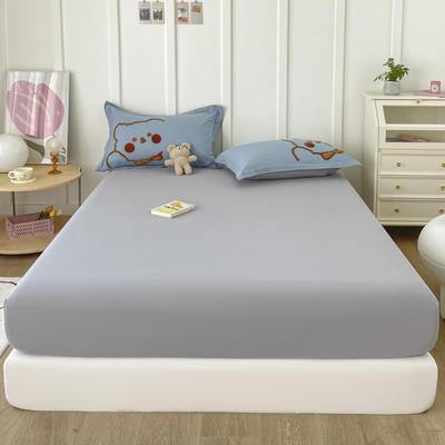2021新款全棉纯色水洗棉纯棉单床笠 150cmx200cm 水洗棉灰色