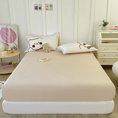 2021新款全棉纯色水洗棉纯棉单床笠 150cmx200cm 水洗棉卡其