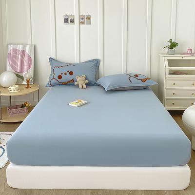2021新款全棉纯色水洗棉纯棉单床笠 150cmx200cm 水洗棉蓝色