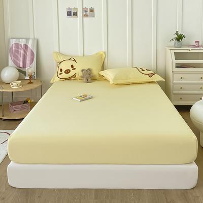 2021新款全棉纯色水洗棉纯棉单床笠 150cmx200cm 水洗棉嫩黄