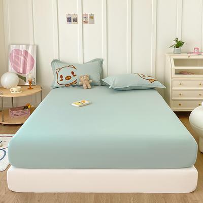 2021新款纯色全棉水洗棉单床笠 150cmx200cm 水洗棉嫩绿