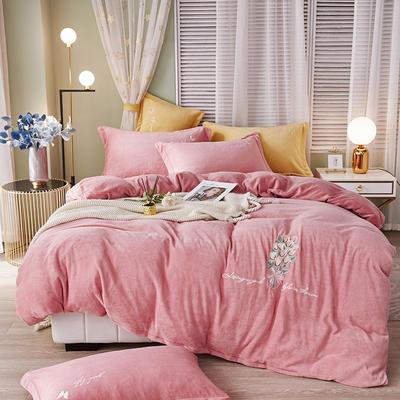 泽西 2021新款加厚220牛奶绒宝宝绒重工玫瑰刺绣四件套 1.8m床单款四件套 大卫花园-粉色