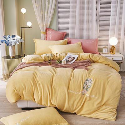 泽西 2021新款加厚220牛奶绒宝宝绒重工玫瑰刺绣四件套 1.8m床单款四件套 大卫花园-黄色