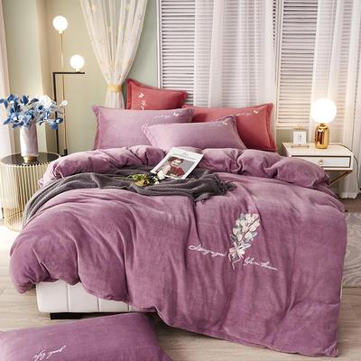 泽西 2021新款加厚220牛奶绒宝宝绒重工玫瑰刺绣四件套 1.8m床单款四件套 大卫花园-紫色