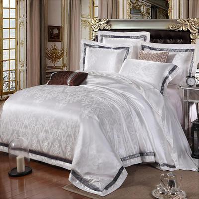 罗优家纺   织带款贡缎提花四件套 1.5m(5英尺)床 广岛 之恋 白色