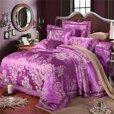 罗优家纺   织带款贡缎提花四件套 1.5m(5英尺)床 金香爱恋紫色
