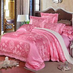 罗优家纺   织带款贡缎提花四件套 1.5m(5英尺)床 妙笔生花(红玉)