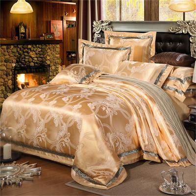 罗优家纺   织带款贡缎提花四件套 1.5m(5英尺)床 时尚丽质(金