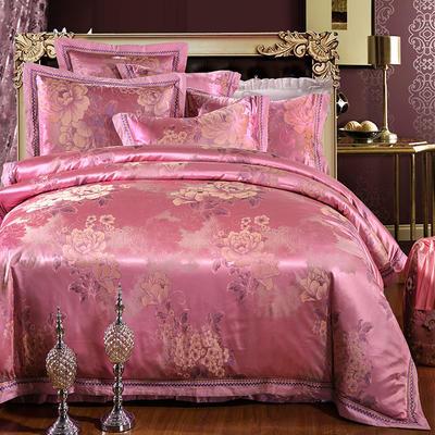 罗优家纺全棉贡缎臻彩丝三色提花四件套(可搭配靠垫成六件套) 1.8m(6英尺)床 沁香花语--浅樱红