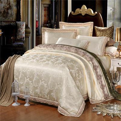 罗优新品花边款麻赛尔贡缎提花四件套 1.8m(6英尺)床 盛世宫廷 米白