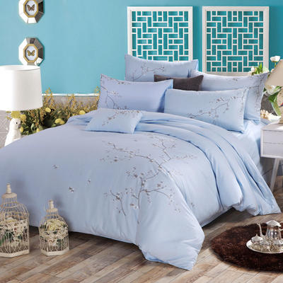 罗优家纺全棉刺绣绣花四件套田园风被套床单床上用品 1.5m(5英尺)床 春色