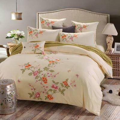 罗优家纺全棉刺绣绣花四件套田园风被套床单床上用品 1.5m(5英尺)床 蝶影