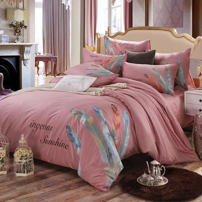 罗优家纺全棉刺绣绣花四件套田园风被套床单床上用品 1.5m(5英尺)床 婀娜