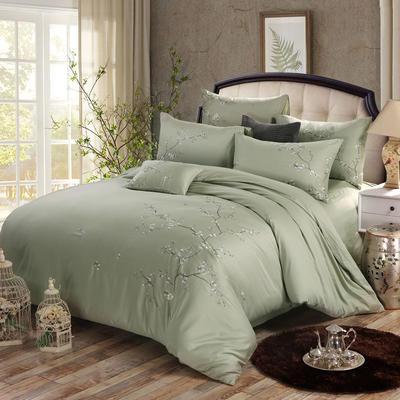 罗优家纺全棉刺绣绣花四件套田园风被套床单床上用品 1.5m(5英尺)床 芳菲