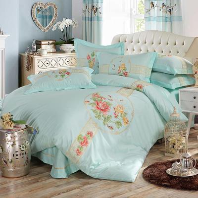 罗优家纺全棉刺绣绣花四件套田园风被套床单床上用品 1.5m(5英尺)床 中国风