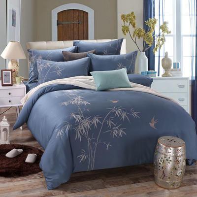 罗优家纺全棉刺绣绣花四件套田园风被套床单床上用品 1.5m(5英尺)床 竹韵
