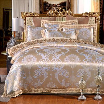 罗优新品花边款麻赛尔贡缎提花四件套 1.5m(5英尺)床 清风雅致 兰金