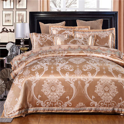 罗优新品花边款麻赛尔贡缎提花四件套 1.5m(5英尺)床 清风雅致 驼色