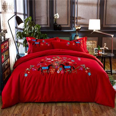 罗优家纺全棉刺绣绣花四件套田园风被套床单床上用品 竹韵 1.5m(5英尺)床 希莉娜