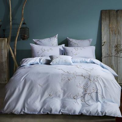 罗优家纺全棉刺绣绣花四件套田园风被套床单床上用品 竹韵 1.5m(5英尺)床 春色