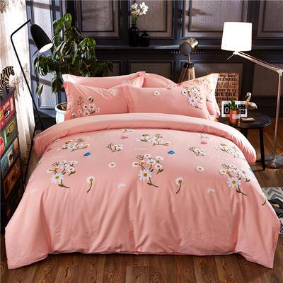 罗优家纺全棉刺绣绣花四件套田园风被套床单床上用品 竹韵 1.5m(5英尺)床 小雏菊