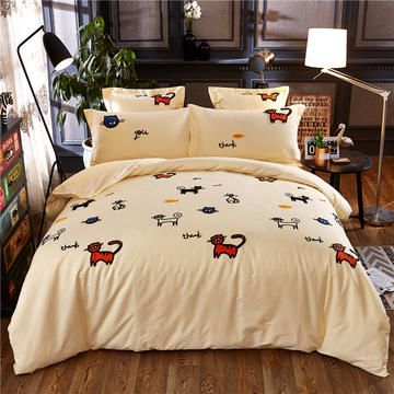 罗优家纺全棉刺绣绣花四件套田园风被套床单床上用品 竹韵