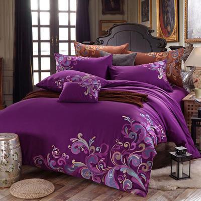 罗优家纺全棉刺绣绣花四件套田园风被套床单床上用品 竹韵 1.5m(5英尺)床 暗香