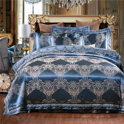 罗优新品花边款麻赛尔贡缎提花四件套 1.5m(5英尺)床 需要六件套拍下请备注花型