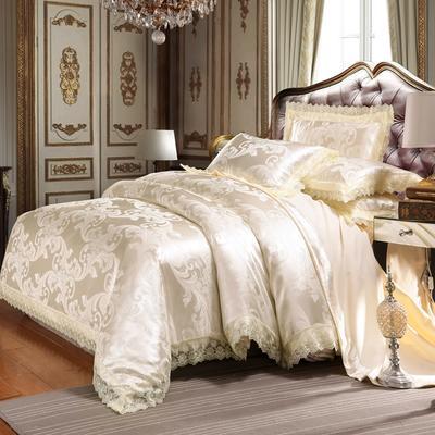 欧式提花亲肤水洗棉绒莫代尔四件套高品质B版磨毛加厚质量保证 1.5m(5英尺)床 琳达珍妮米白