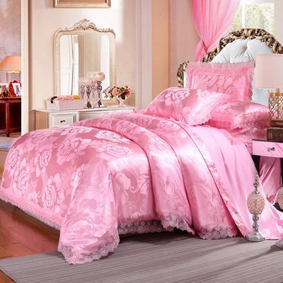 欧式提花亲肤水洗棉绒莫代尔四件套高品质B版磨毛加厚质量保证 1.5m(5英尺)床 紫韵花开粉