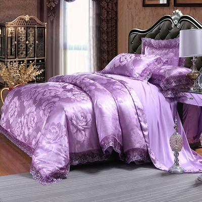 欧式提花亲肤水洗棉绒莫代尔四件套高品质B版磨毛加厚质量保证 1.5m(5英尺)床 紫韵花开雪青