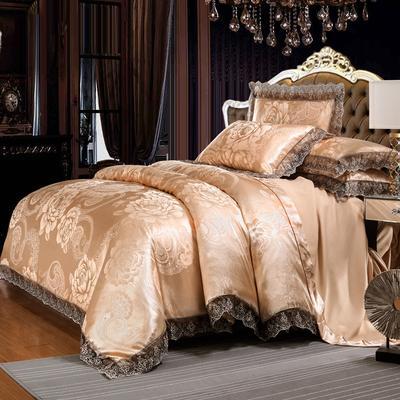 欧式提花亲肤水洗棉绒莫代尔四件套高品质B版磨毛加厚质量保证 1.5m(5英尺)床 花间飞舞金驼
