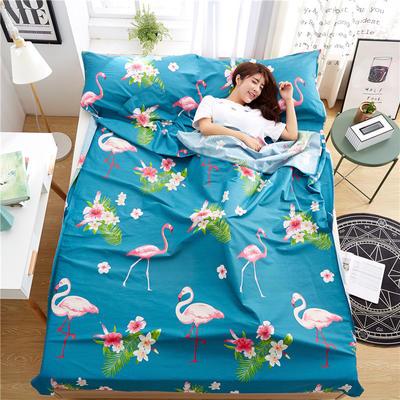 罗优家纺旅行酒店纯棉隔脏睡袋宾馆双人被套便携式旅游防脏床单 火烈鸟80cm