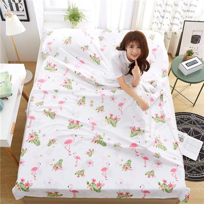 罗优家纺旅行酒店纯棉隔脏睡袋宾馆双人被套便携式旅游防脏床单 火烈之旅160cm