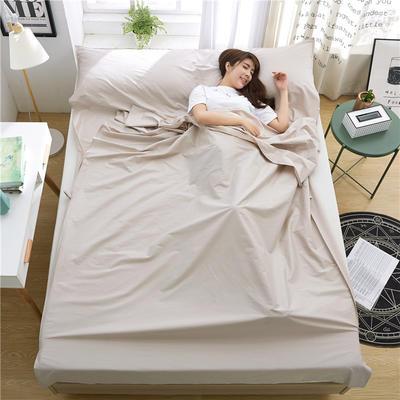 罗优家纺旅行酒店纯棉隔脏睡袋宾馆双人被套便携式旅游防脏床单 灰色160cm