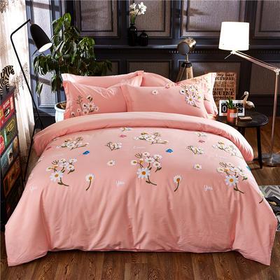 罗优家纺全棉刺绣绣花四件套田园风被套床单床上用品 1.5m(5英尺)床 小雏菊