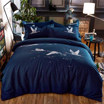 罗优家纺全棉刺绣绣花四件套田园风被套床单床上用品 1.5m(5英尺)床 天鹅梦蓝