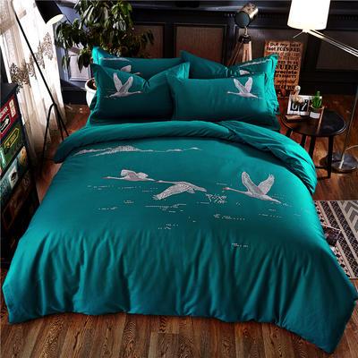 罗优家纺全棉刺绣绣花四件套田园风被套床单床上用品 1.5m(5英尺)床 天鹅梦绿