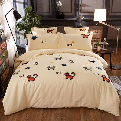 罗优家纺全棉刺绣绣花四件套田园风被套床单床上用品 1.5m(5英尺)床 小猫咪