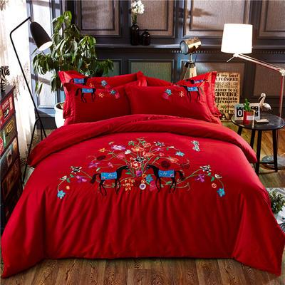 罗优家纺全棉刺绣绣花四件套田园风被套床单床上用品 1.5m(5英尺)床 希莉娜