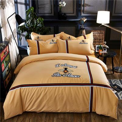 罗优家纺全棉刺绣绣花四件套田园风被套床单床上用品 1.5m(5英尺)床 小蜜蜂