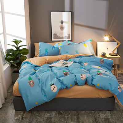 棉加绒四件套A版全棉130*70  B版190克水晶绒 1.5m(5英尺)床 菠萝蜜-兰