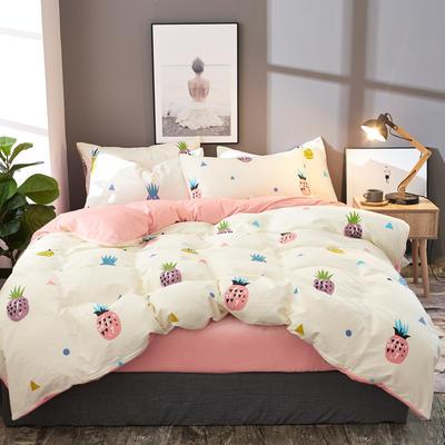 棉加绒四件套A版全棉130*70  B版190克水晶绒 1.2m(4英尺)床 菠萝蜜-米