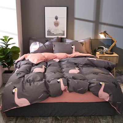 棉加绒四件套A版全棉130*70  B版190克水晶绒 1.5m(5英尺)床 蜜语时光