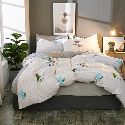 棉加绒四件套A版全棉130*70  B版190克水晶绒 1.5m(5英尺)床 朵美儿-浅米