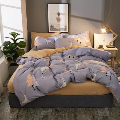 棉加绒四件套A版全棉130*70  B版190克水晶绒 1.5m(5英尺)床 挪威森林-灰