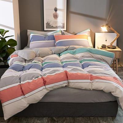 棉加绒四件套A版全棉130*70  B版190克水晶绒 1.5m(5英尺)床 费城情调-桔