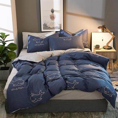 棉加绒四件套A版全棉130*70  B版190克水晶绒 1.5m(5英尺)床 海豚世界-蓝