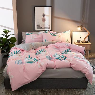 棉加绒四件套A版全棉130*70  B版190克水晶绒 1.5m(5英尺)床 花彩童话-粉
